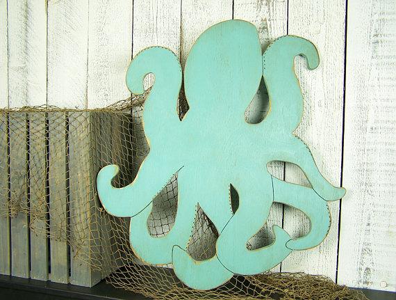 Octopus Art Wooden Octopus Wall Art Octopus Decor Large Wall Art