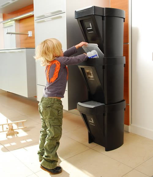 Stacking recycle bin home storage systems from store for Recycling ideas for home