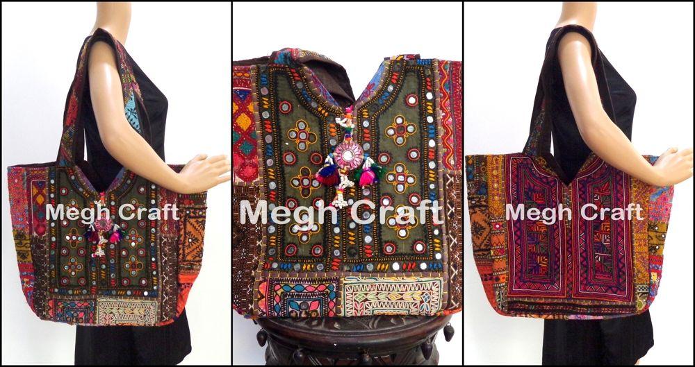 0153cc734b33 Vintage Embroidery Bag -Banjara jhola Bag-Indian Bohemian Mirror bags Megh  Craft