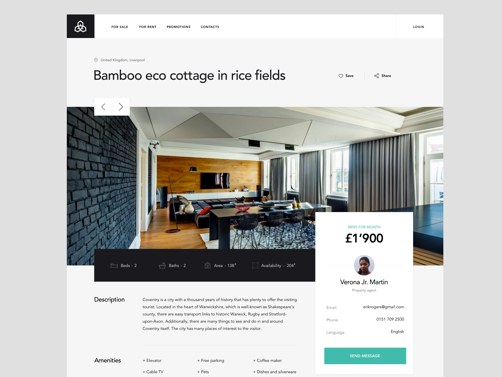 Apartments page template for Real Estate platform (With ...