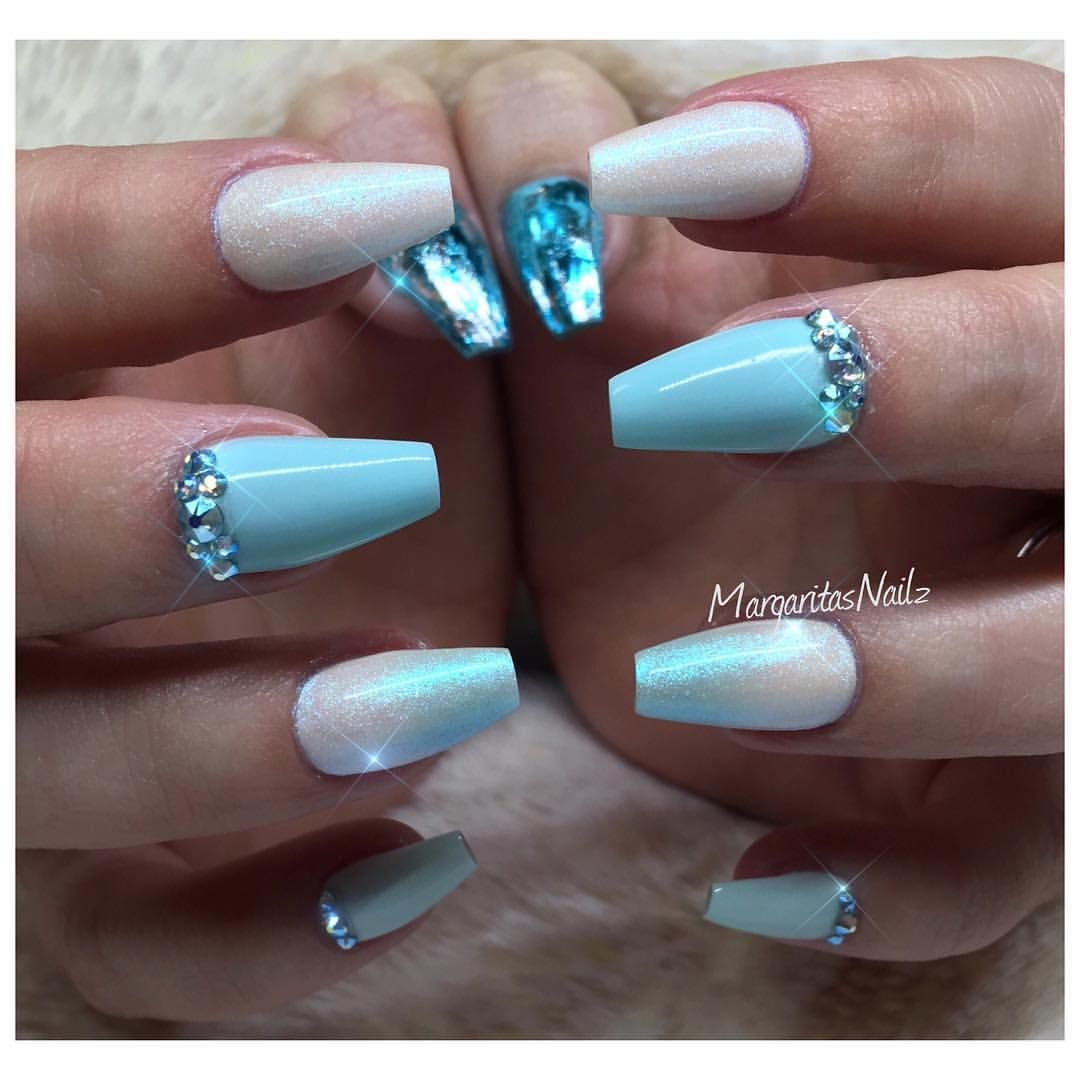 baby blue ombr short coffin nails