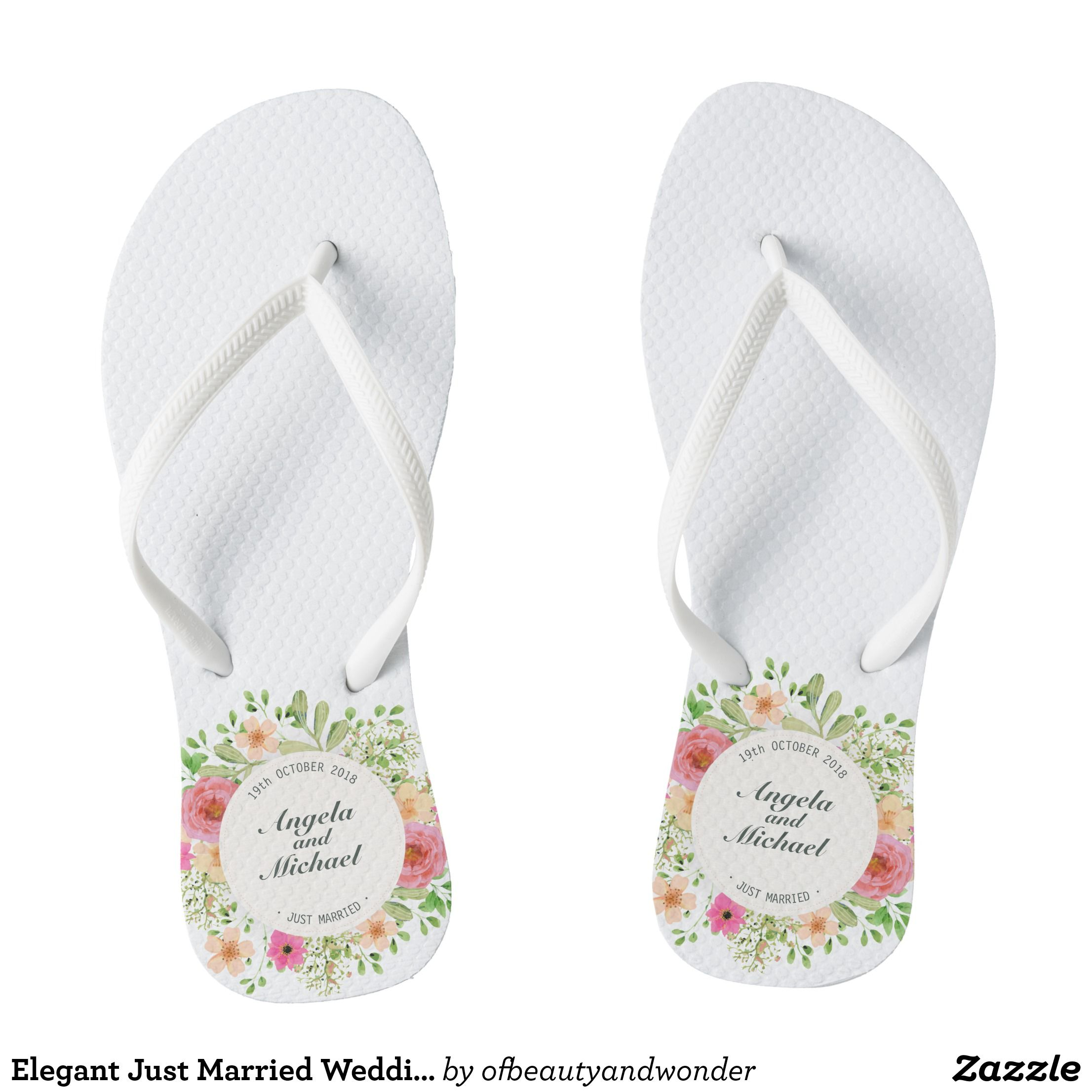 Elegant Just Married Wedding Flip Flops Durable Style Hawaiian Beach Sandals By Talented Fashion Graphic Designers Flipflops Hawaii