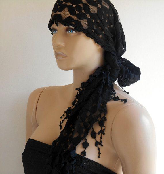 Lace Scarf, Festival Bandana, Bandana Band, Black Scarf, Black Lace, Boho Scarf, Head Bandanas, Bandana Yoga, Hair Bandana, Women Scarves
