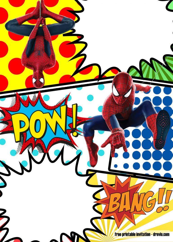 Free Marvel Spiderman Comic Style Invitation Template Drevio Superhero Birthday Invitations Superhero Invitations Spiderman Invitation