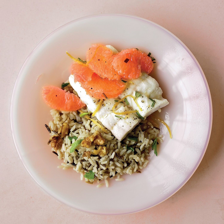 Halibut with Grapefruit and Rosemary Recipe | Martha Stewart