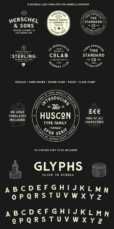 Huscon A Vintage Spur Serif In 2020 Serif Typeface Logo Templates Serif