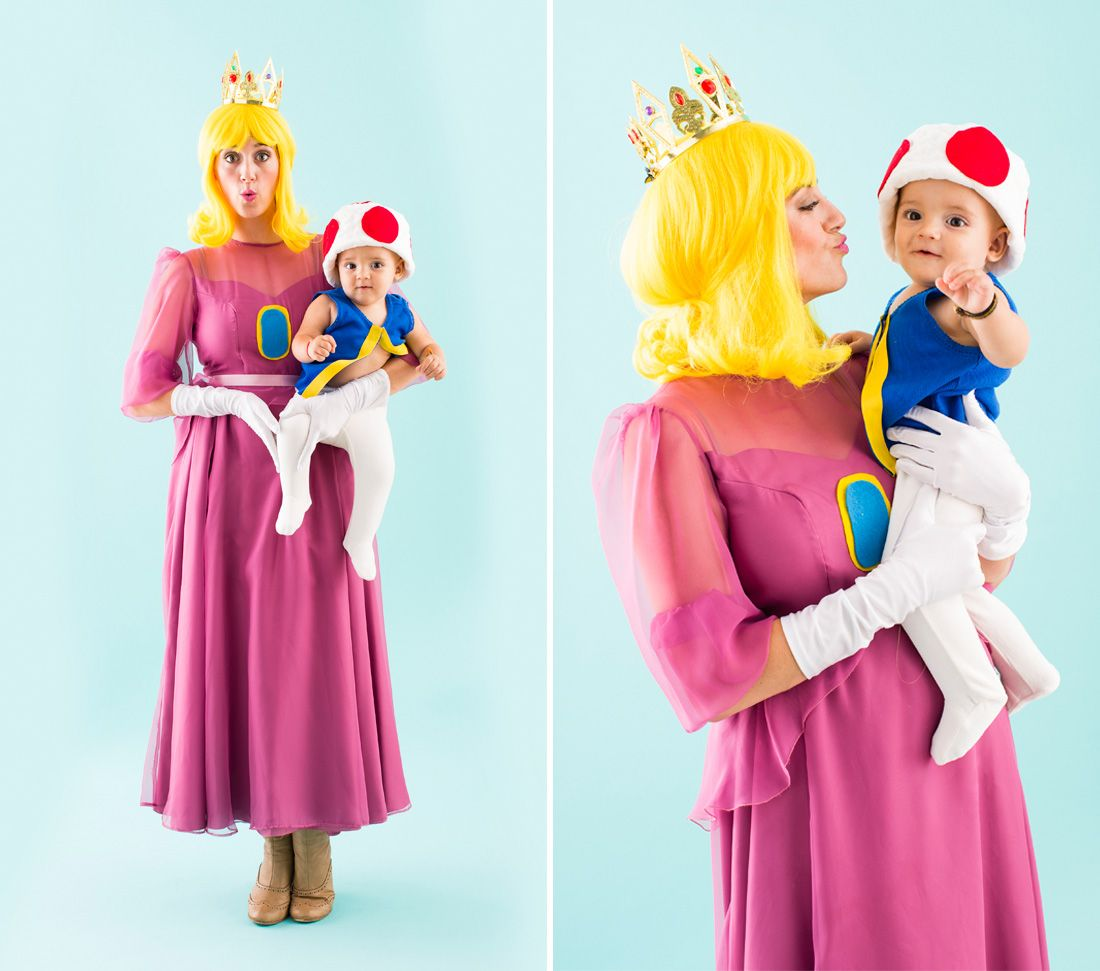 Dress up as Princess Peach and Toad for Halloween with your little ...