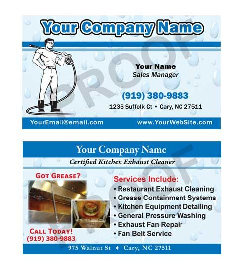 Kitchen Exhaust Cleaning Business Cards Designed To Match Hood .