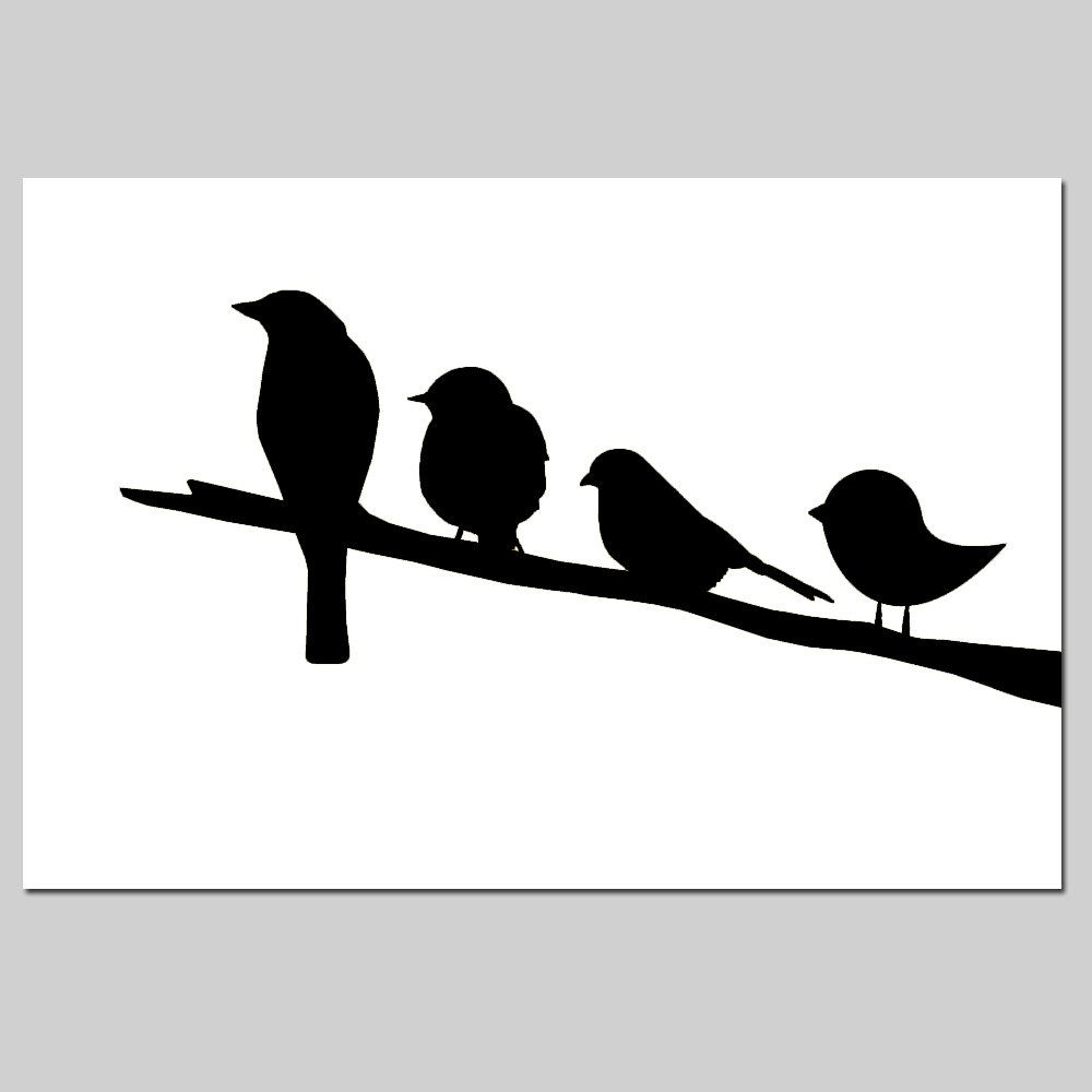 Birds On A Branch  11x17 Silhouette Print Perfect For Nursery Choose Your Colors Shown In