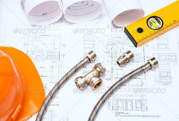 plumbing and drawings, construction still life by adam121. plumbing and drawings are on the desktop, workspace engineer #AD #construction, #life, #plumbing, #drawings