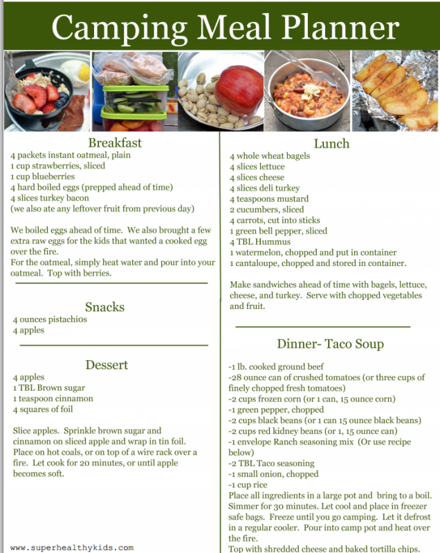 HEALTHY CAMPING MENU | Camping foods, Planners and Meals