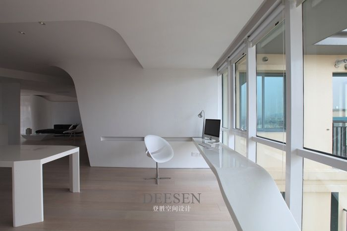 Futuristic design office with a view and futuristic feel white chair charming sky villa in nanjing