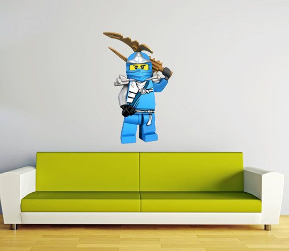 Lego Ninjago Jay Blue Ninja BIG Peel And Stick REUSEABLE Wall Sticker Wall  Decal Wall Mural
