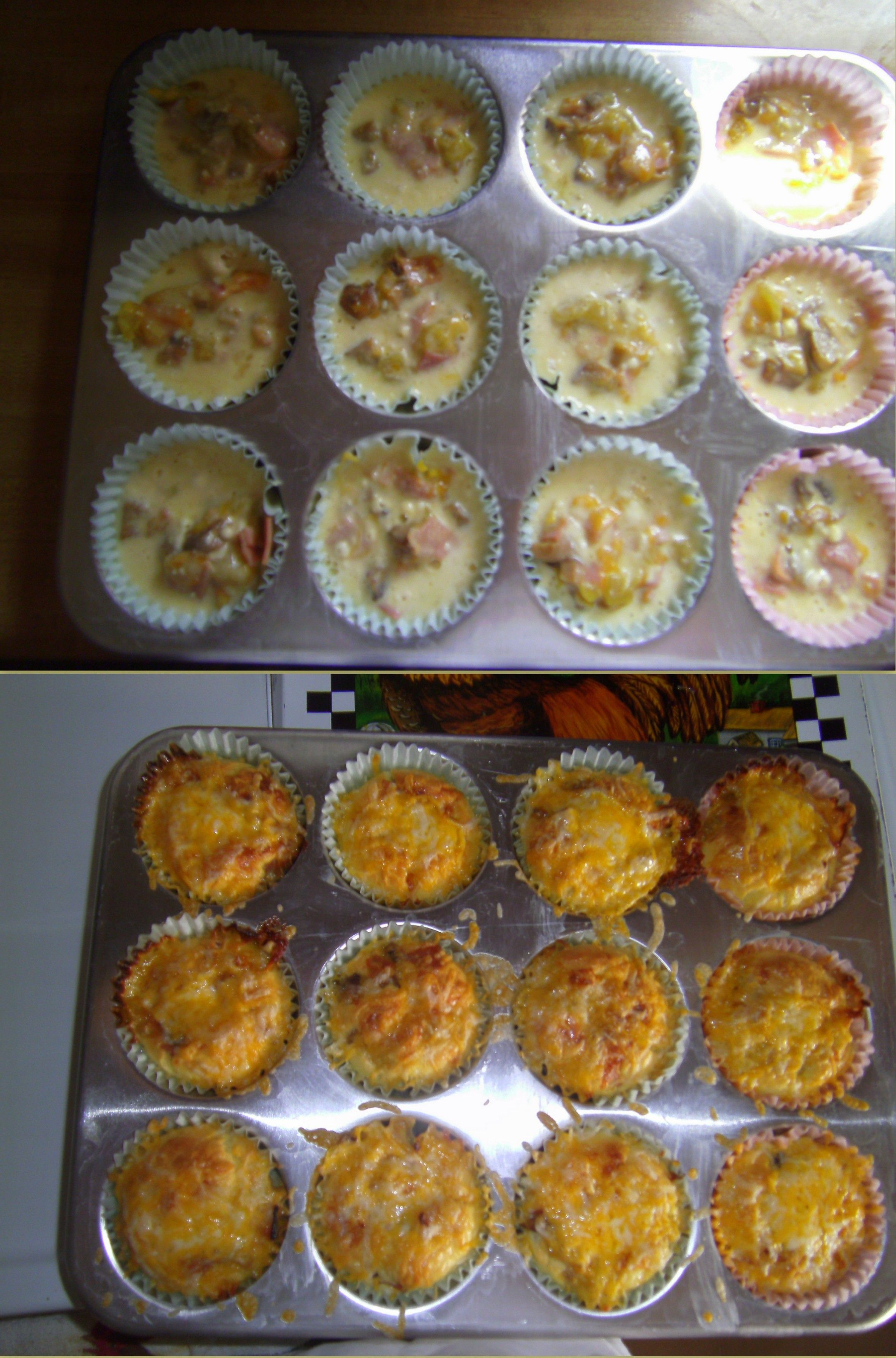 Bisquick breakfast muffins with chopped honey ham diced