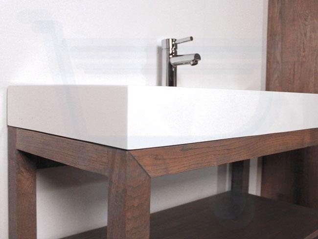 Saniclass natural wood badmeubelset 100cm grey wash met wastafel wit