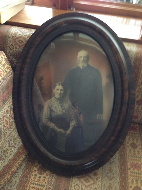 Antique Victorianedwardian Oval Picture Frame Domed Bubble Glass