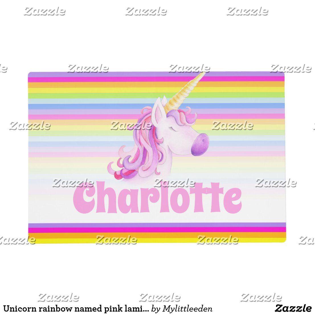 Unicorn rainbow named pink laminated placemat. Original watercolor art and design by Sarah Trett for www.mylittleeden.com #rainbowunicorns #unicorns #kidsplacemat #placemat #mats #keepitclean