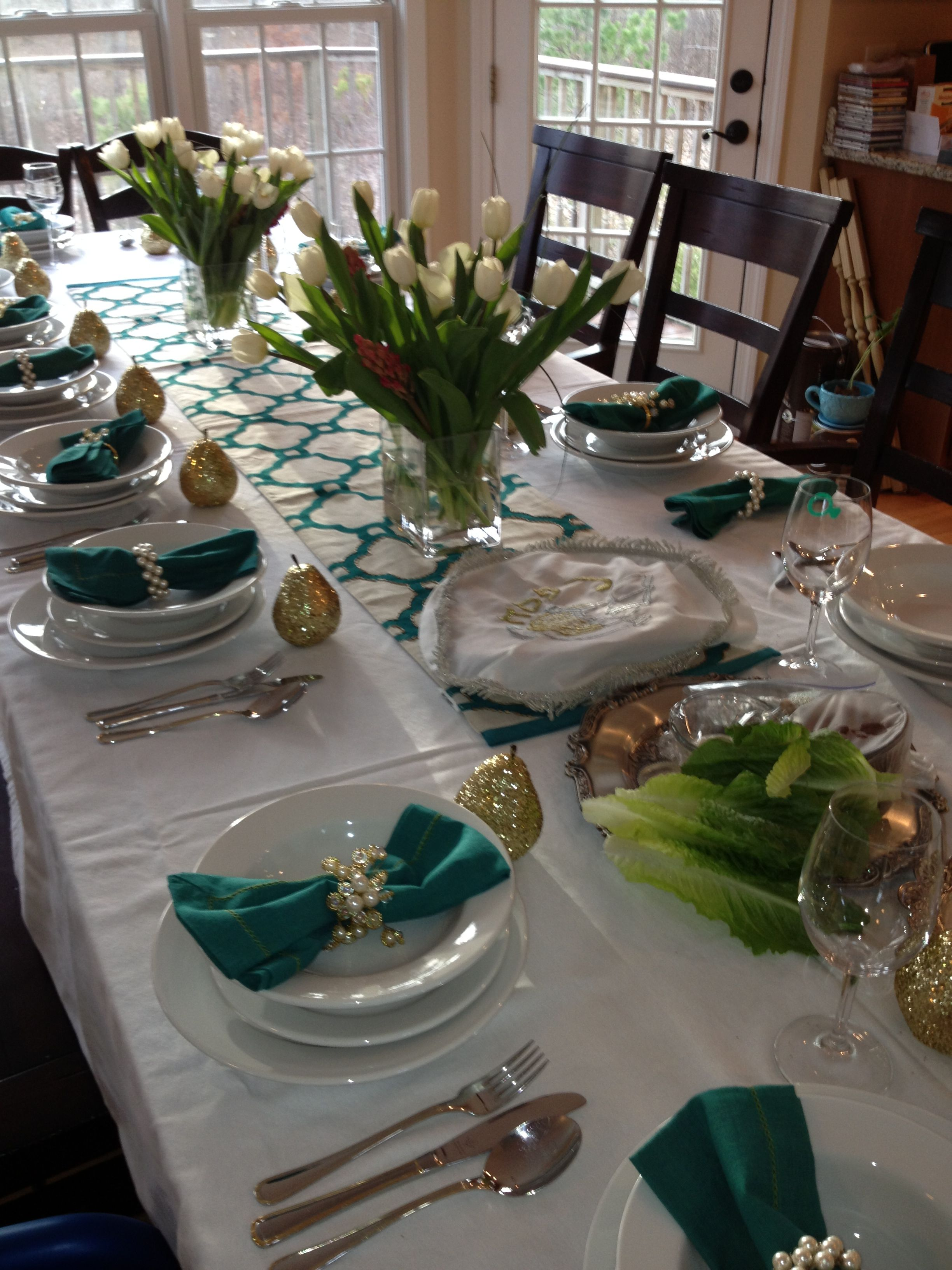 Passover festive table setting. Tulips, Pier One, gold covered pears ...