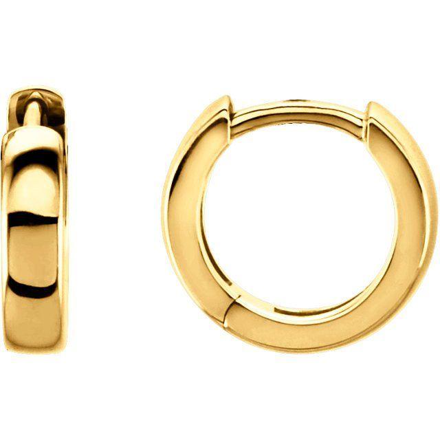 9894c5e4e08fe Pair of 14k gold hinged huggie hoop earrings. - 12mm diameter - 2.75 ...