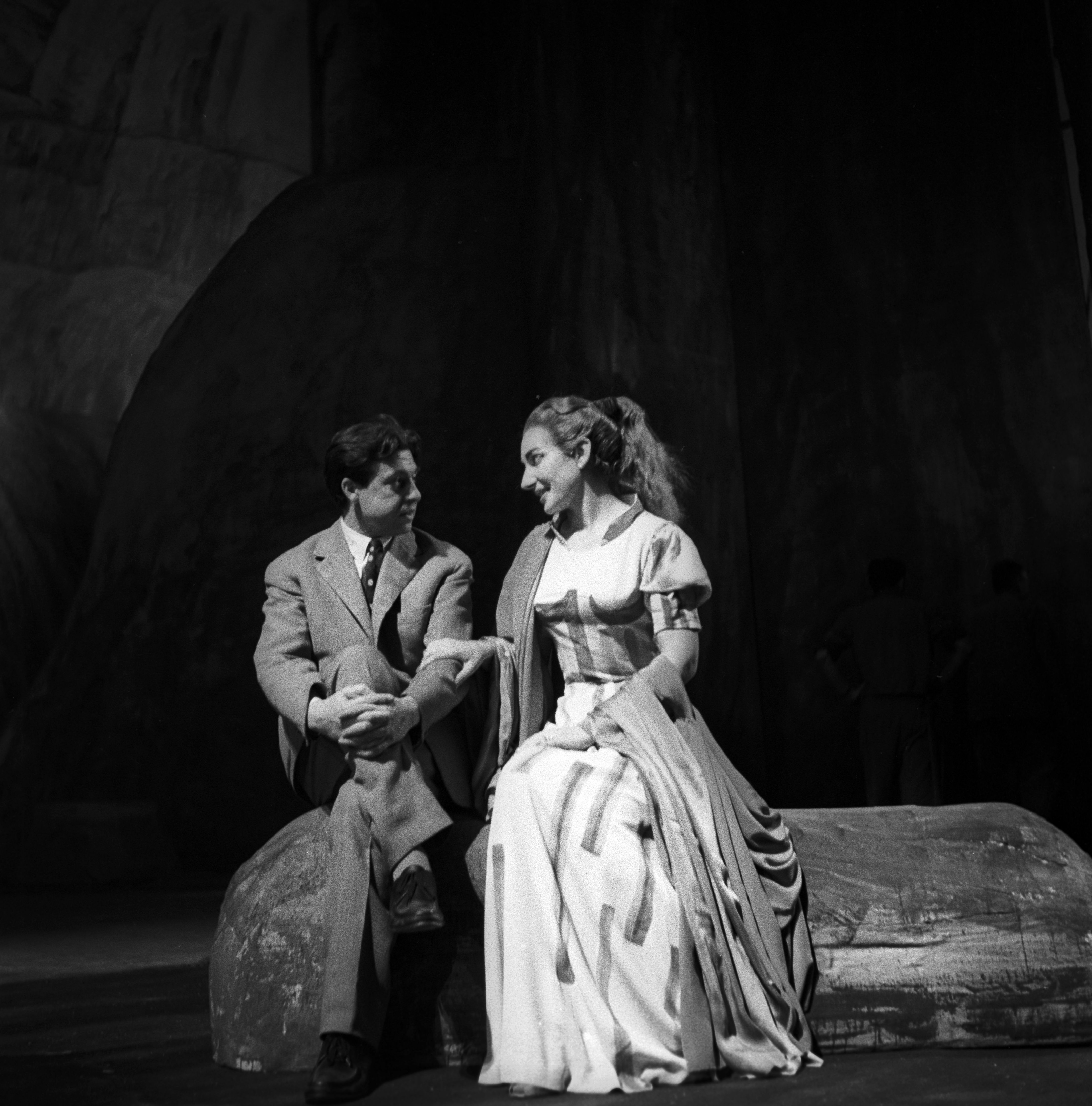 "Painter Salvatore Fiume and Maria Callas on the stage of Teatro alla Scala in 1953. Salvatore Fiume conceived and designed the set and the costumes of ""Medea"". In the picture: Maria Callas wearing one of the costumes designed by Salvatore Fiume."