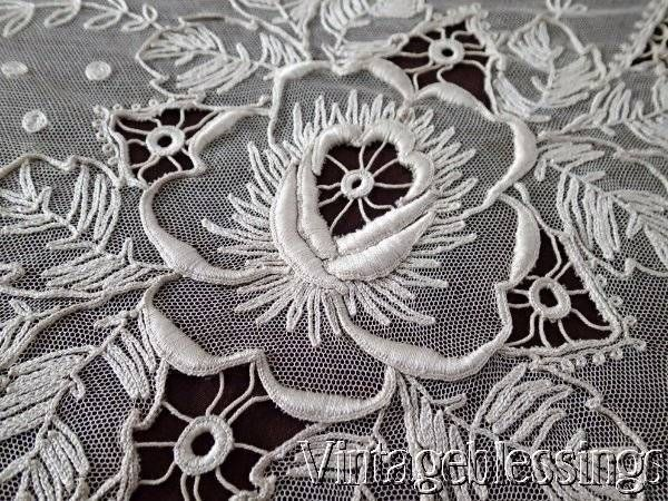 """Large Antique French Net & Tambour Embroidered Roses Lace Coverlet 104"""" x 83"""" www.Vintageblessings.com"""