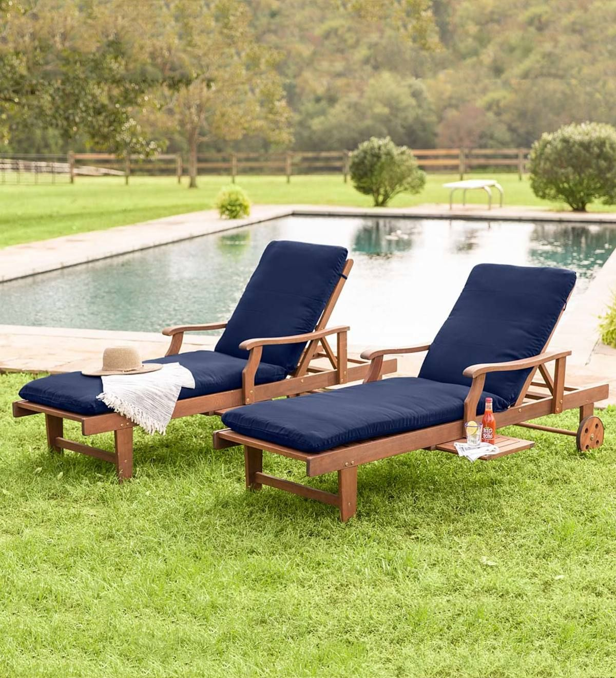 - Claremont Eucalyptus Outdoor Chaise Lounges, Set Of 2 Wood Patio