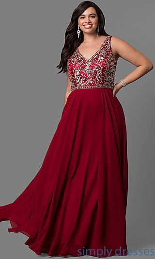d10559e2f4e7a Shop embellished plus-size long prom dresses at Simply Dresses. Formal  dresses with beaded and sequined v-neck bodices and long chiffon skirts.