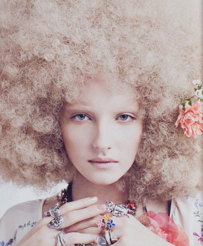 Simple, yet complicated ~ blonde afro ♡   Big hair afro fashion style!  love love love! Awesome! All time old school swag!