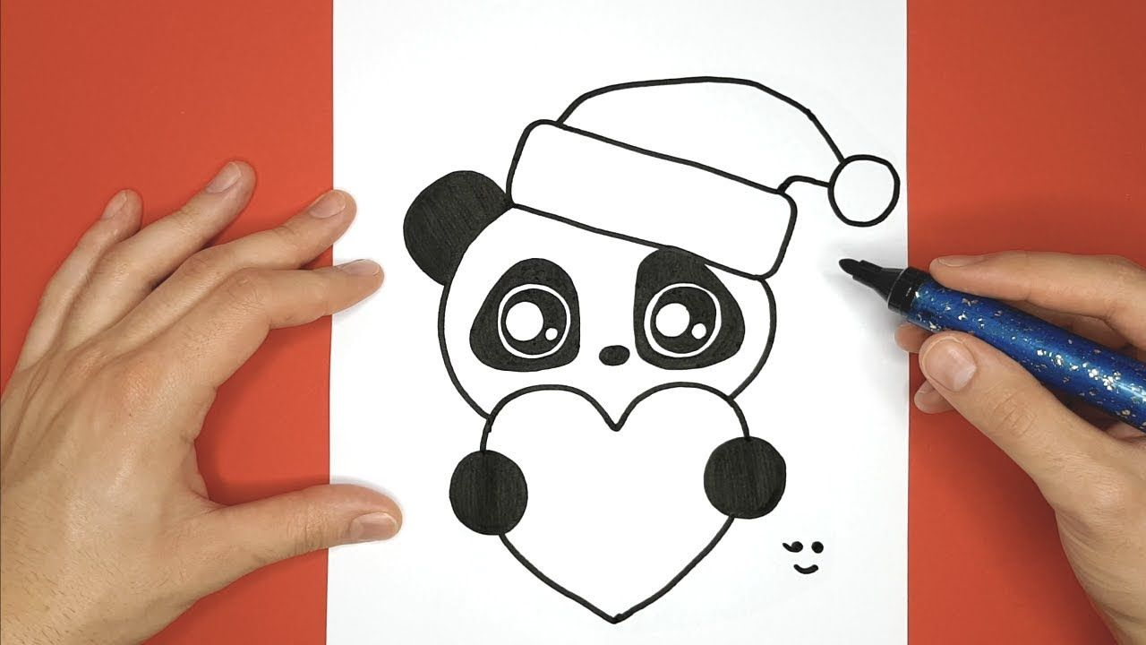 Dessin Sympa Et Facile Pour Noel Panda Avec Un Coeur Et Bonnet Rouge Youtube Dessin Kawaii Panda Panda Dessin Dessin Kawaii