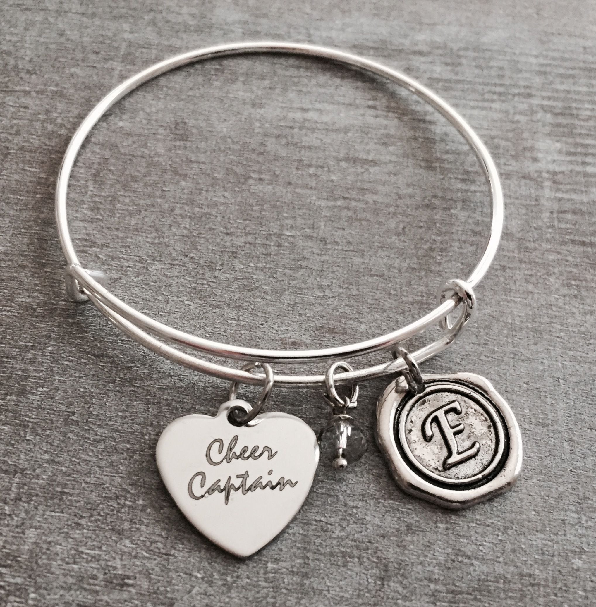 Cocheer Captain Silver Charm Bracelet Cheerleader Cheer Jewelry Gifts By Sajolie
