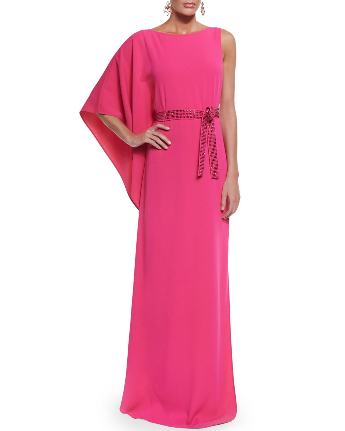 Classic Cady Gown w/ Sequined Belt, Cerise, Women's, Size: 10 - St. John Collection