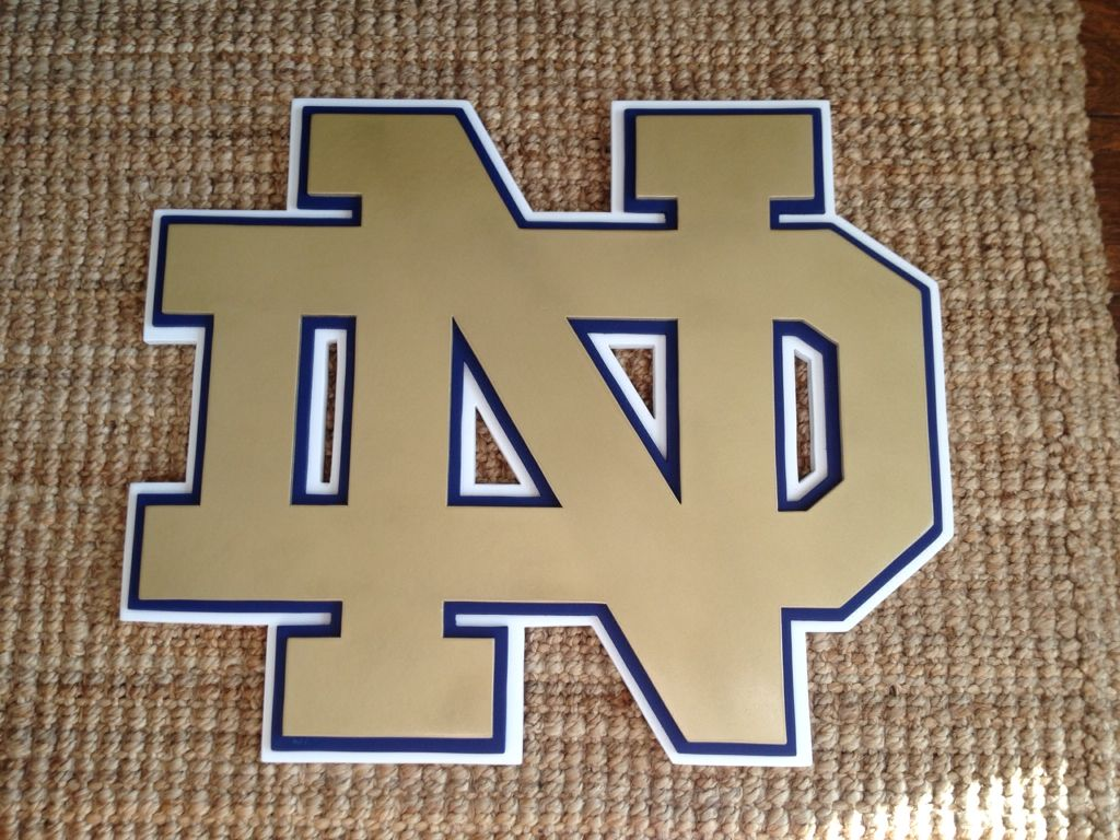 Notre Dame logo shaped 3-D wall sign. notre Dame wall decor ...