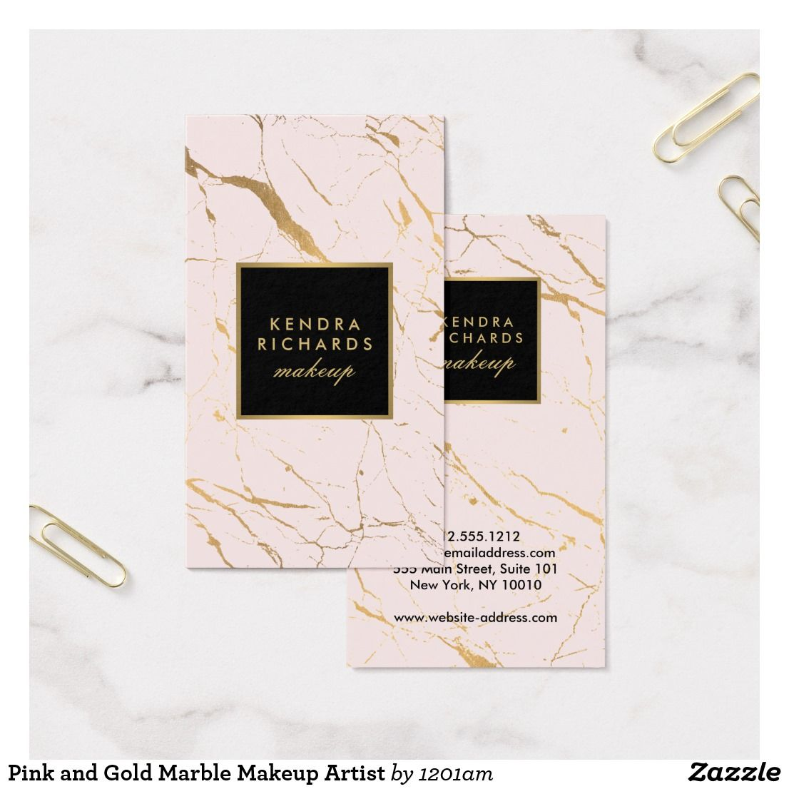 Pink And Gold Marble Makeup Artist Business Card Zazzle Com