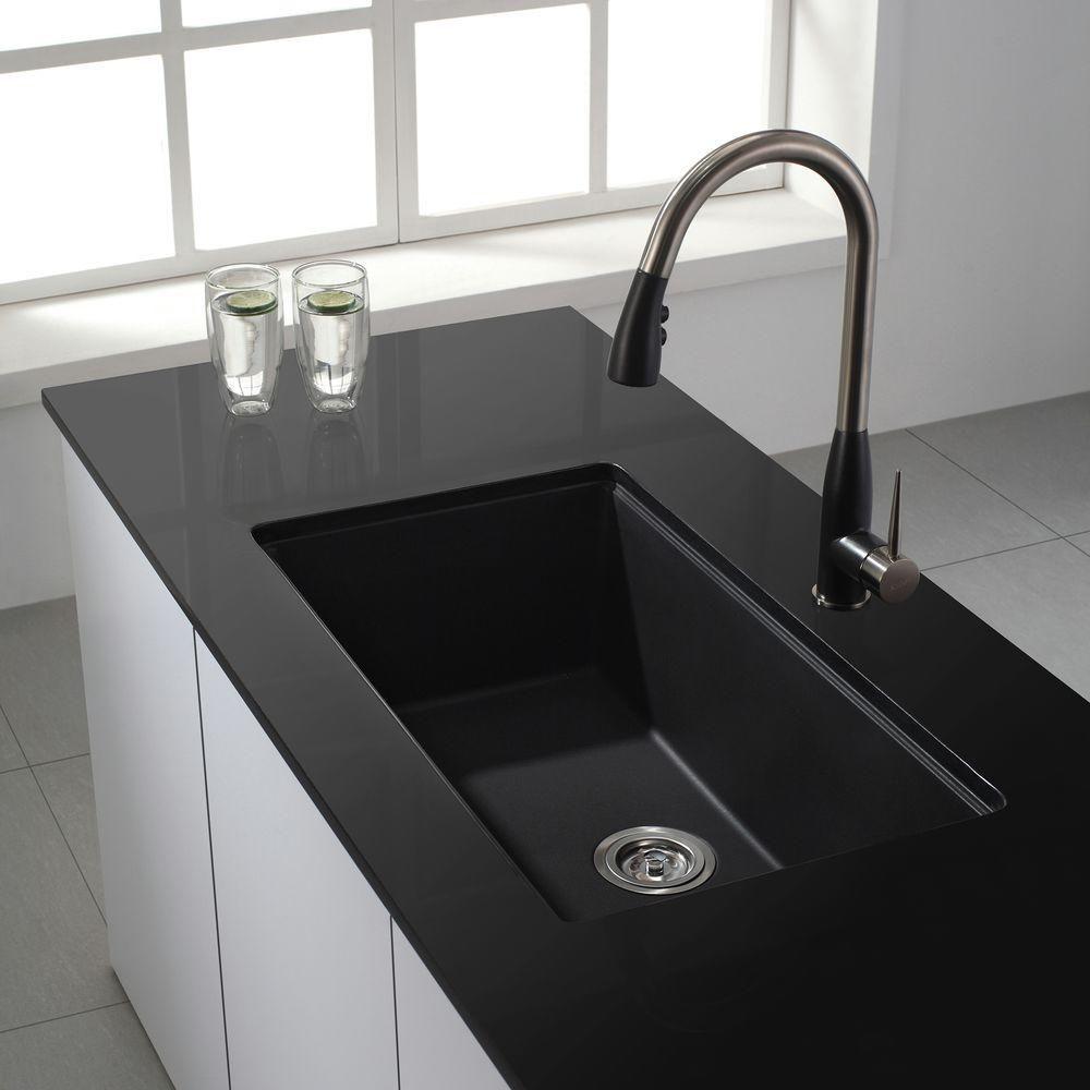 Kraus Undermount Granite Composite 32 In Single Basin Kitchen Sink Kit In Black Kgu 413b The Home Depot Undermount Kitchen Sinks Black Kitchen Sink Granite Kitchen Sinks