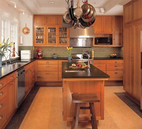 Narrow island with seating at one end if the end was for Bungalow kitchen ideas