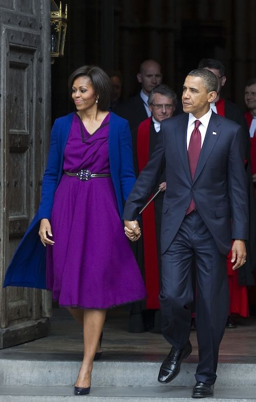 LOVE the bold jewel toned dress (with belt) and jacket here. Looks amazing and flattering.