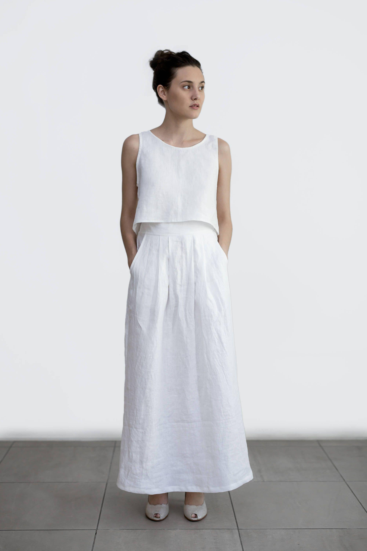 Maxi Linen Skirt With Deep Pockets Long High Waist White Wedding Outfit Clothing: Linen Line Wedding Dress At Websimilar.org