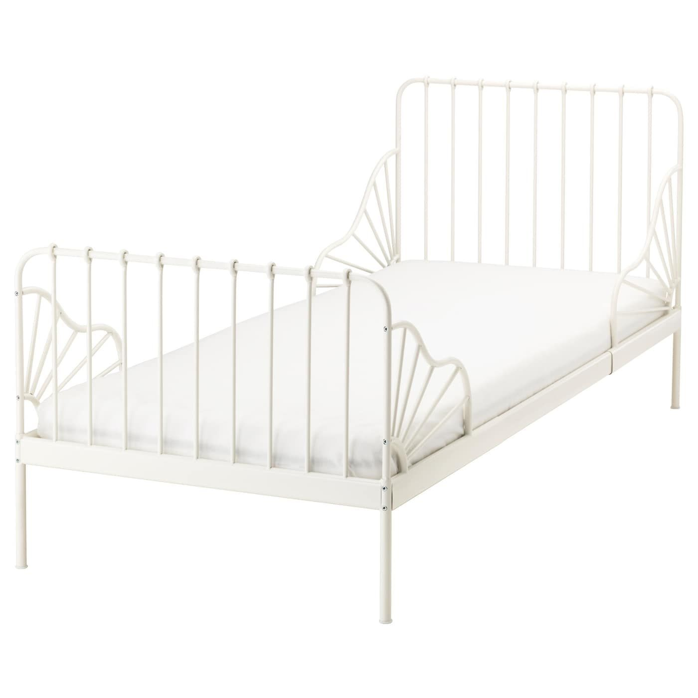 Minnen Ext Bed Frame With Slatted Bed Base White Ikea Ikea
