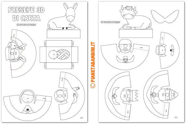 Presepe 3d Di Carta Da Stampare Ritagliare E Costruire Presepe Di Natale Set Di Presepi Bambini Di Natale