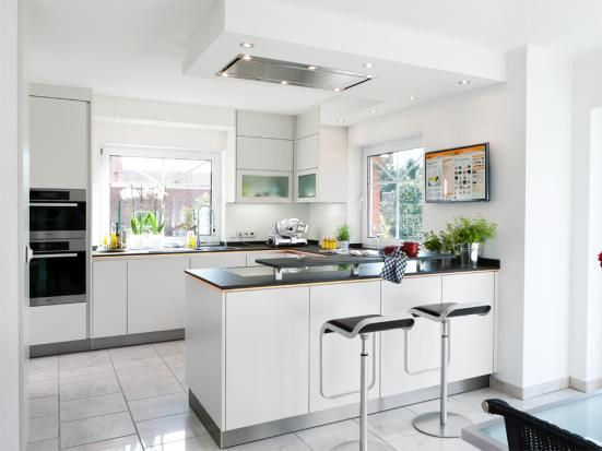 Offene küche in weiß house offene küche wohnzimmer küche und