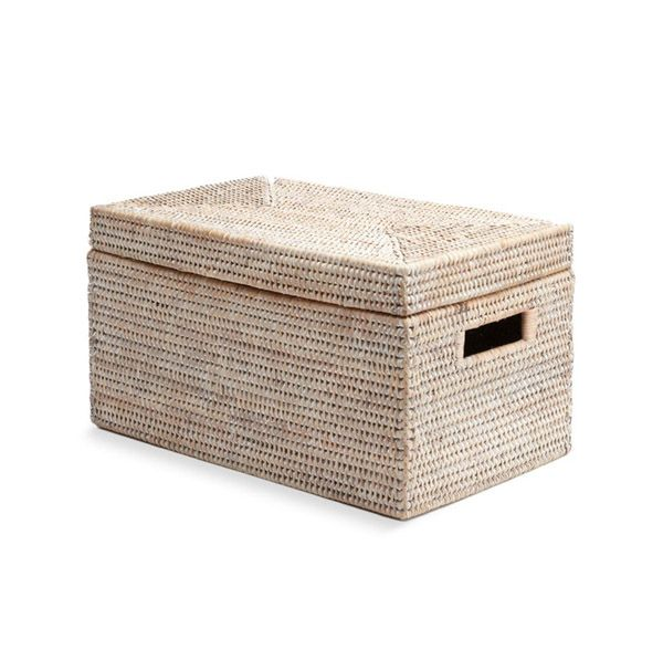 White Rattan Lidded Storage Basket Rectangular Lid Storage Baskets Lid Storage Rattan