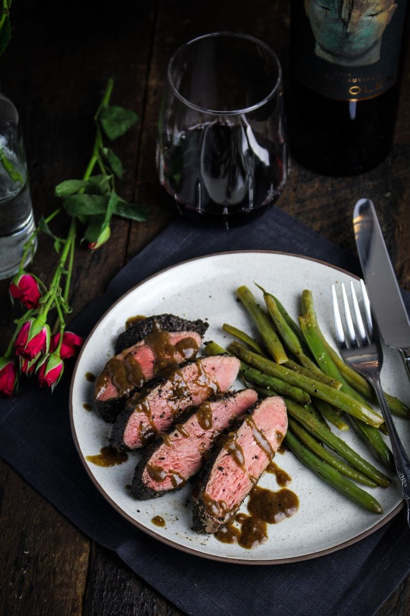 Coffee-Crusted Duck with Balsamic-Brandy Sauce | {Katie at the Kitchen Door}
