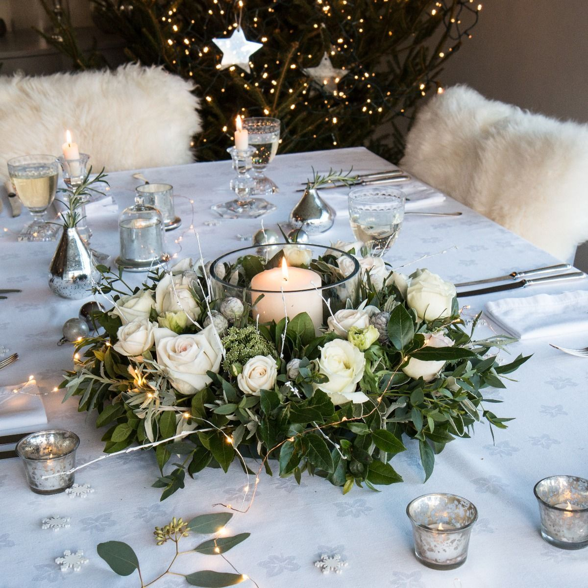 Nordic Rose Christmas Table Wreath In 2020 White Wedding Flowers Centerpieces Flower Centerpieces Wedding Natural Christmas Wreaths