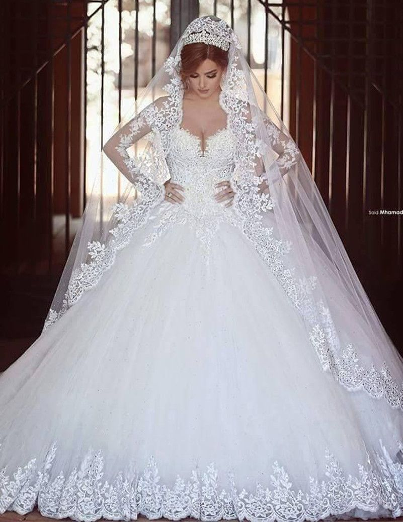 Vestidos De Noivas Gorgeous Wedding Dress Muslim Long Sleeve Tulle ...