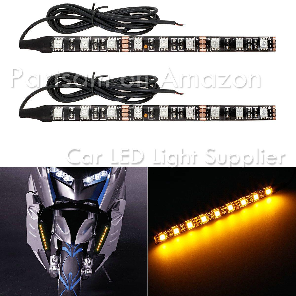 partsam 2 x universal motorcycle bike 12led turn signal indicator strip light blinker lamp 12led [ 1200 x 1200 Pixel ]