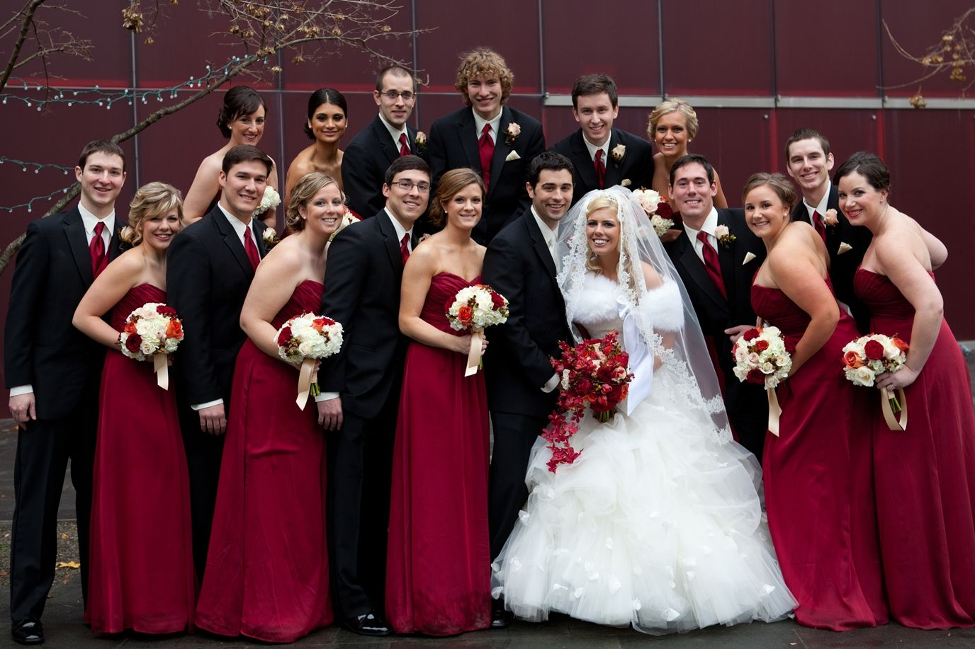 Burgundy and Champagne Wedding Colors with bouquets in