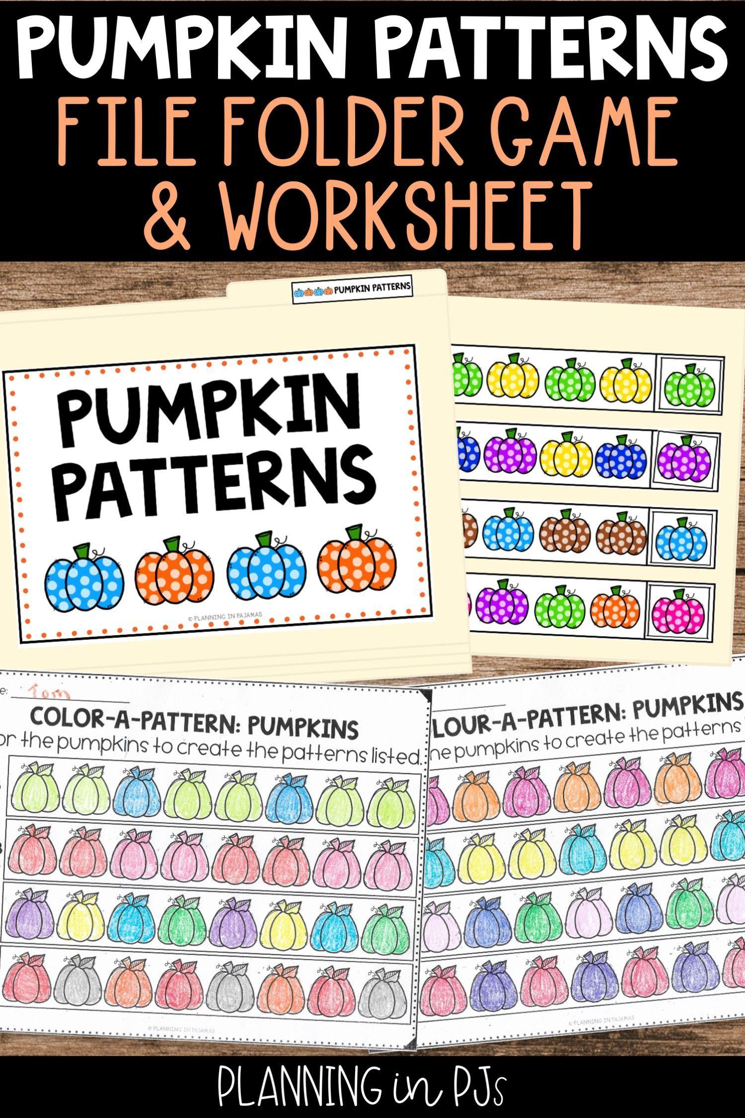 Pumpkin Patterns Worksheets File Folder Game