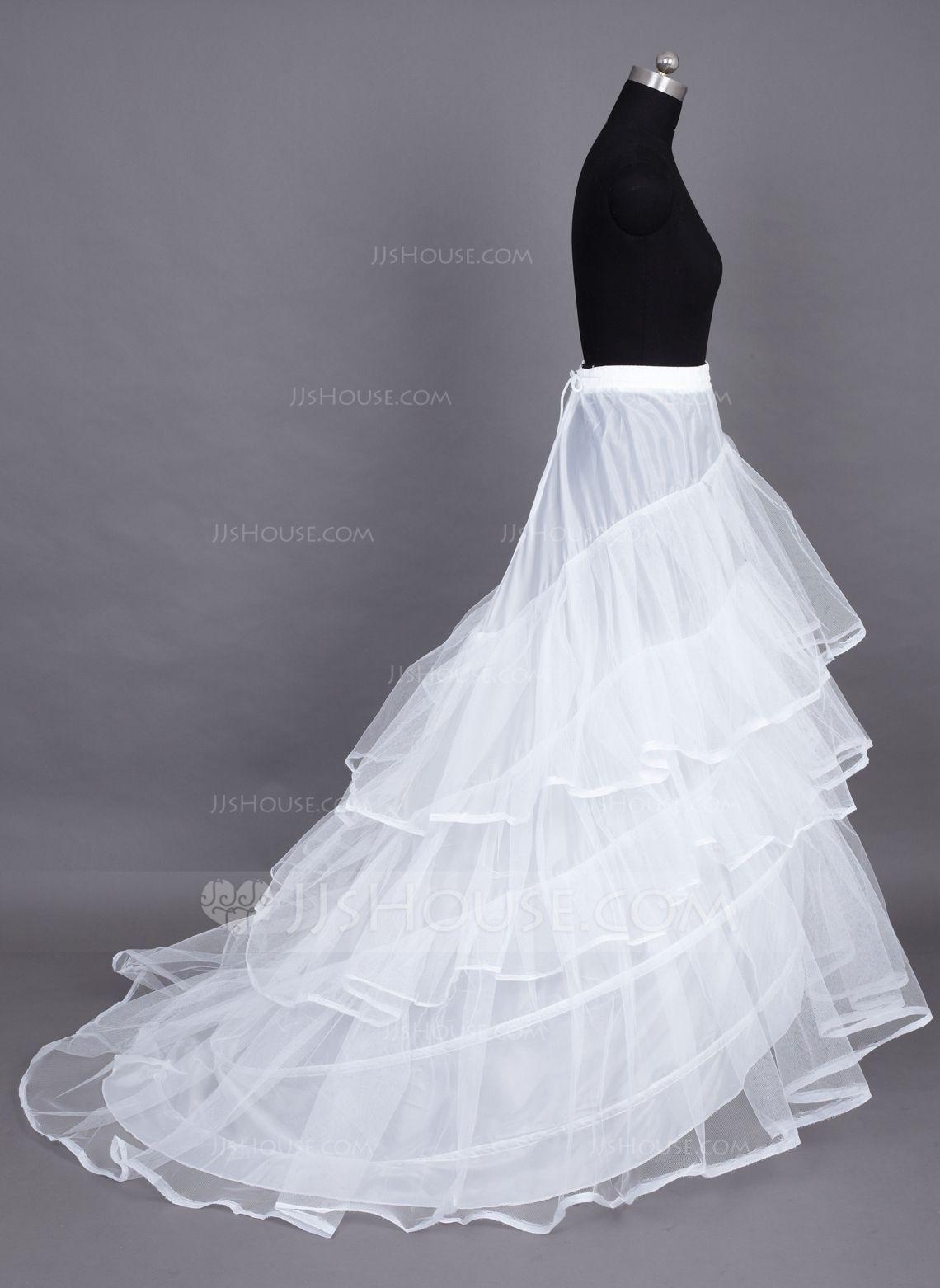 Women Nylon/Tulle Netting Chapel Train 3 Tiers Petticoats (037024157 ...
