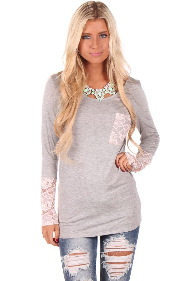 33b92fec59a5d Women s Cute Boutique Tops for Sale Online. Lime Lush Boutique - Grey Long  Sleeve Top with Lace Detail