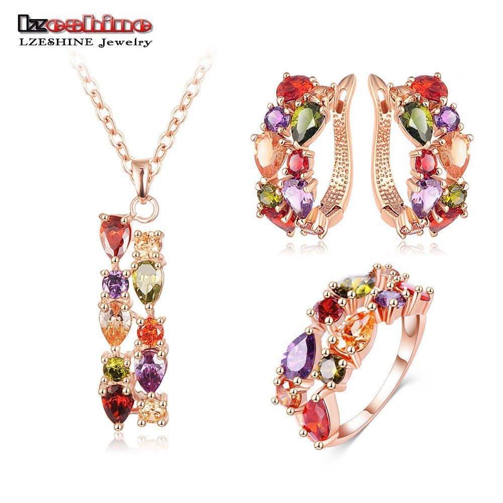 LZESHINE New Top 18K Rose Gold Plate Flower Jewelry Set Multicolor ...